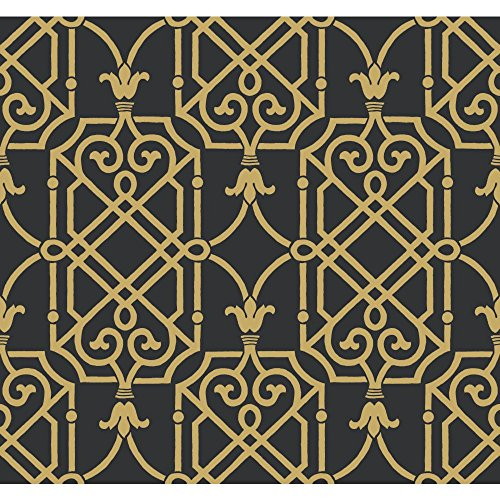 York Wallcoverings Black and White Geometric Lattice Wallpaper Memo Sample, 8 by 10-Inch, Onyx/Gleaming Gold (Lattice Onyx)