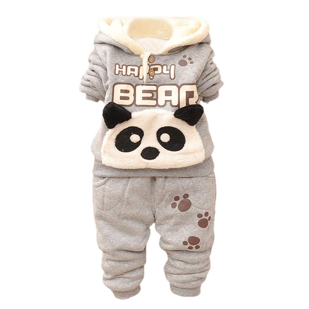 Zerototens Newborn Outfit Set,0-24 Months Toddler Baby Clothes Boys Girls Winter Long Sleeve Panda Print Plush Hoodie Tops and Pants 2Pcs Children Clothing Set
