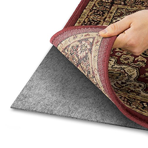 Area Rug Pad with GRIP TIGHT Technology (9x12) | Non Slip Padding Perfect for Hardwood Floors | Thick Felt Cushion for Rugs Nonskid Kitchen Persian Carpet Mat Natural (Fiber Fix Adhesive)