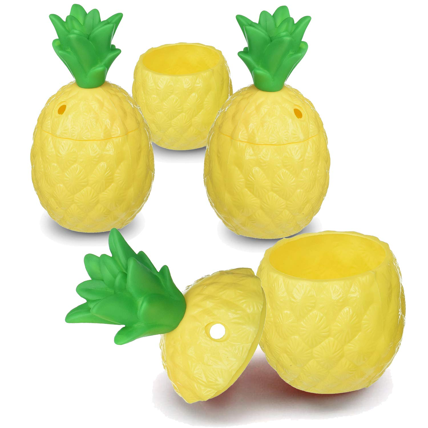 Hogue WS LLC Plastic Pineapple Luau Cups For Fun Hawaiian Children's Parties – Bulk 12 Pack – Comes With Straws – Tiki And Beach Theme Party Supplies (1 Dozen)