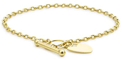 Carissima Gold 9ct Yellow Gold Heart Tag Belcher Bracelet of 18cm/7 uO8QJUC
