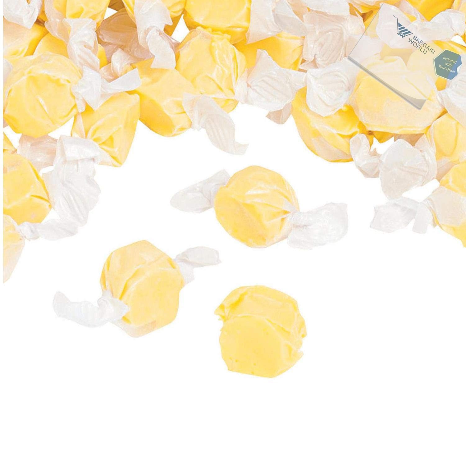 Bargain World Yellow Salt Water Taffy (With Sticky Notes)