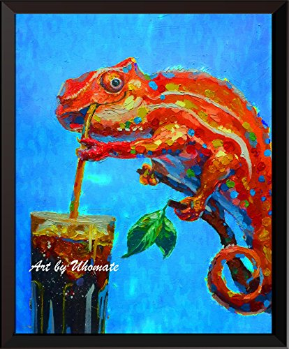- Uhomate Watercolor Chameleon with Cola Print Original Chameleon Painting Cute Animal Canvas Wall Art Print Poster Baby Gift Nursery Decor Living Room Wall Decor A141 (8X10)