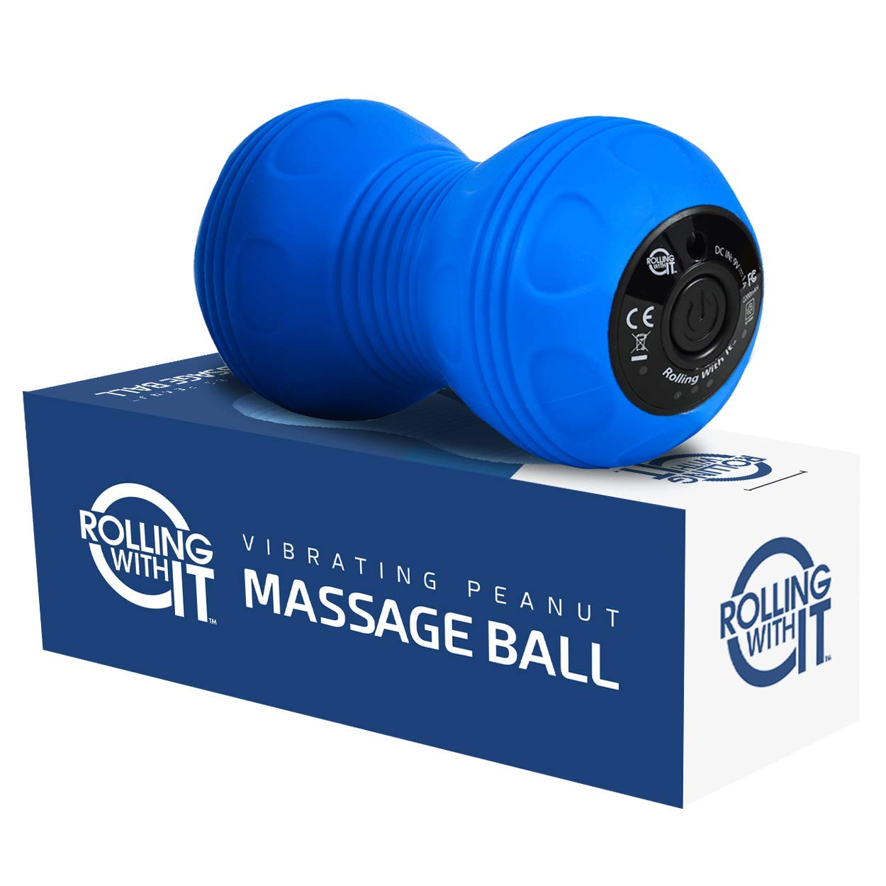 Professional Vibrating Peanut Massage Ball - Deep Tissue Trigger Point Therapy, Myofascial Release - Handheld, Cordless - 4 Intensity Levels - Dual Lacrosse Ball Vibration Massager - Blue by Rolling With It