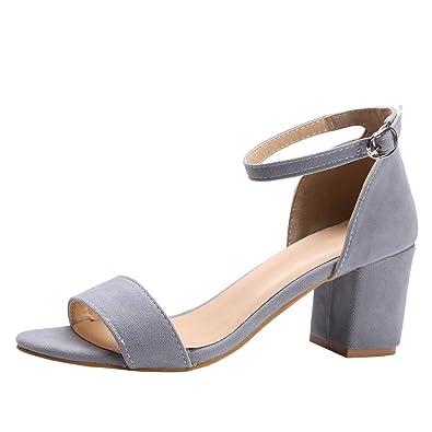 Agodor Damen Blockabsatz High Heels Sandalen mit Riemchen und Schnalle  Ankle Strap Open Toe Schuhe 408c06a484
