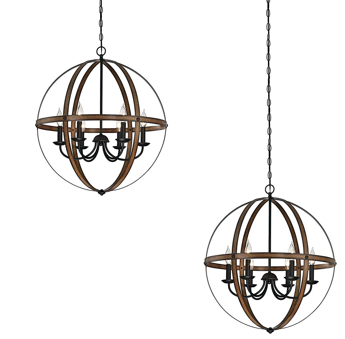Barnwood and Oil Rubbed Bronze 2 Pack Westinghouse Stella Mira Indoor Chandelier with Highlights