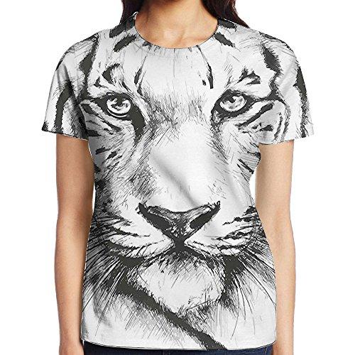 WuLion Safari Wildlife African Dangerous Sketchy Magestic Big Cat Tiger Women's 3D Print T Shirt XL White