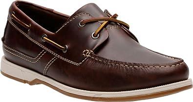 Clarks Men's Fulmen Row Boat Shoe,Dark Tan Cow Full Grain Leather,US 7