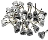 24 Mounted 3/4'' Steel Wire Cup Rotary Brush Works With Dremel Foredom Tools