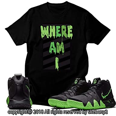 low cost 185bb 1db76 Custom T Shirt Matching Style of Nike Kyrie 4 Halloween Rage Green NK 4-1