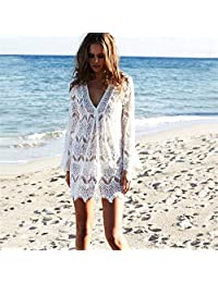 Dezan - Salida de baño sexy de encaje, color sólido, para playa, color blanco, talla chica, Blanco, Large
