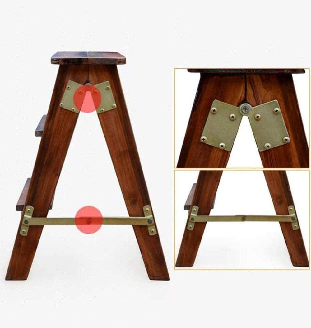 Painting Step stools 3 Step Multi-purpose Folding Ladder Stool Oak Ladders Step Stool Portable Solid Wood Climb High Fishing Stool Bench (Color : A) C