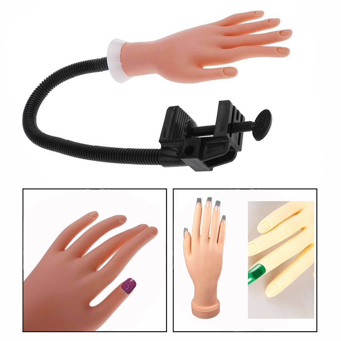 Cisixin Nail Hand With Bracket Flexible Nail Manicure Practice Soft Bendable Hand Mannequin Model For Nail Art Training Hand