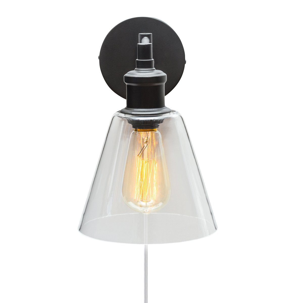 Globe Electric LeClair 1 Light Plug In Or Hardwire Industrial Wall Sconce Dark Bronze Finish On Off Rotary Switch Canopy 6 Foot Clear Cord