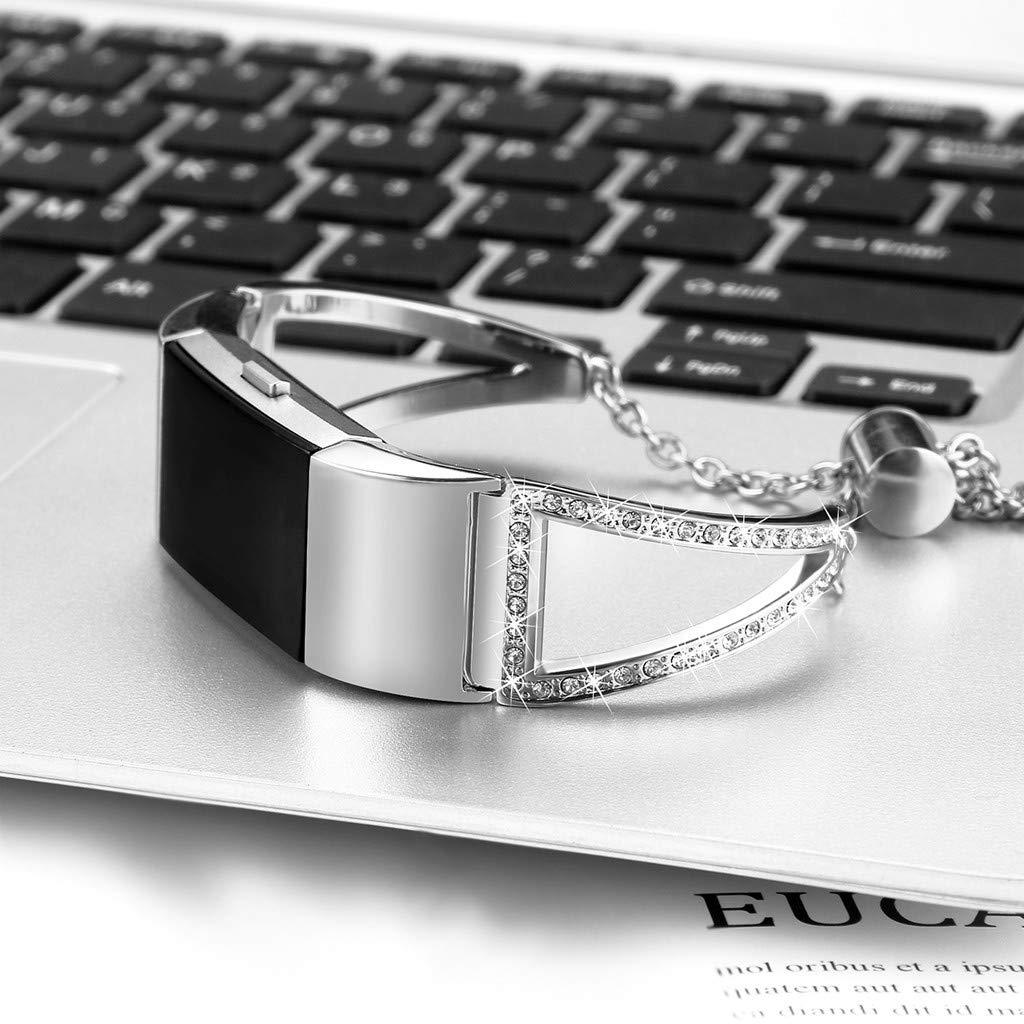 Schwarz F/ür Fitbit Charge 2 Armband,Colorful D-Wort Kristall Metall Replacement Wrist Band Strap Edelstahl Watchband Uhrenarmband f/ür Fitbit Charge 2 Damen M/ädchen