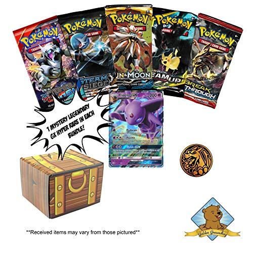 Pokemon Mystery Treasure Box Trading Card Bundle - 5 Random Pokemon Booster Packs - 1 Coin - 1 GX in Every Box! Includes Golden Groundhog Treasure Chest Storage Box!