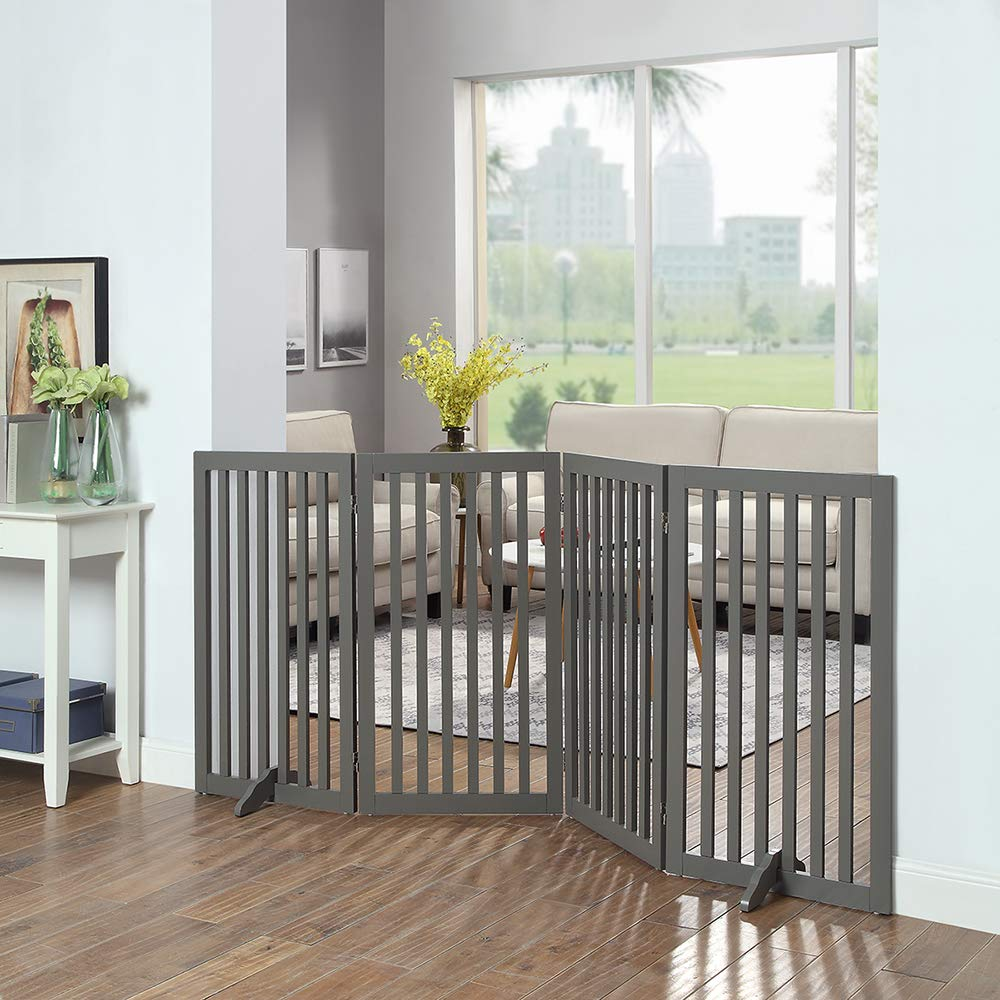 unipaws Freestanding Wooden Dog Gate, Foldable Pet Gate with 2PCS Support Feet Dog Barrier Indoor Pet Gate Panels for Stairs, Gray (20'' Wx36 H, 4 Panels) by unipaws (Image #2)