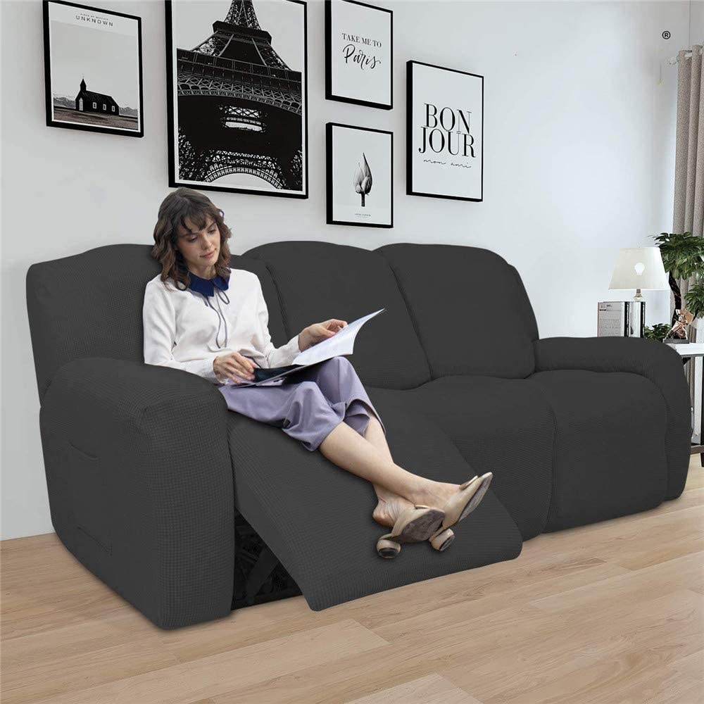 LINGKY 8-Pieces Recliner Sofa Covers Sofa Stretch Reclining Couch Covers for 3 Cushion Sofa Slipcovers Furniture Covers with Elastic Bottom Thick Soft Washable (Wine Red) Dark Gray