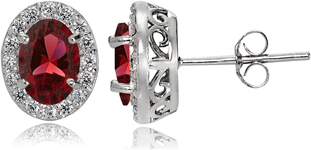 Sterling Silver Created Ruby and White Topaz Emerald-Cut Dangle Earrings