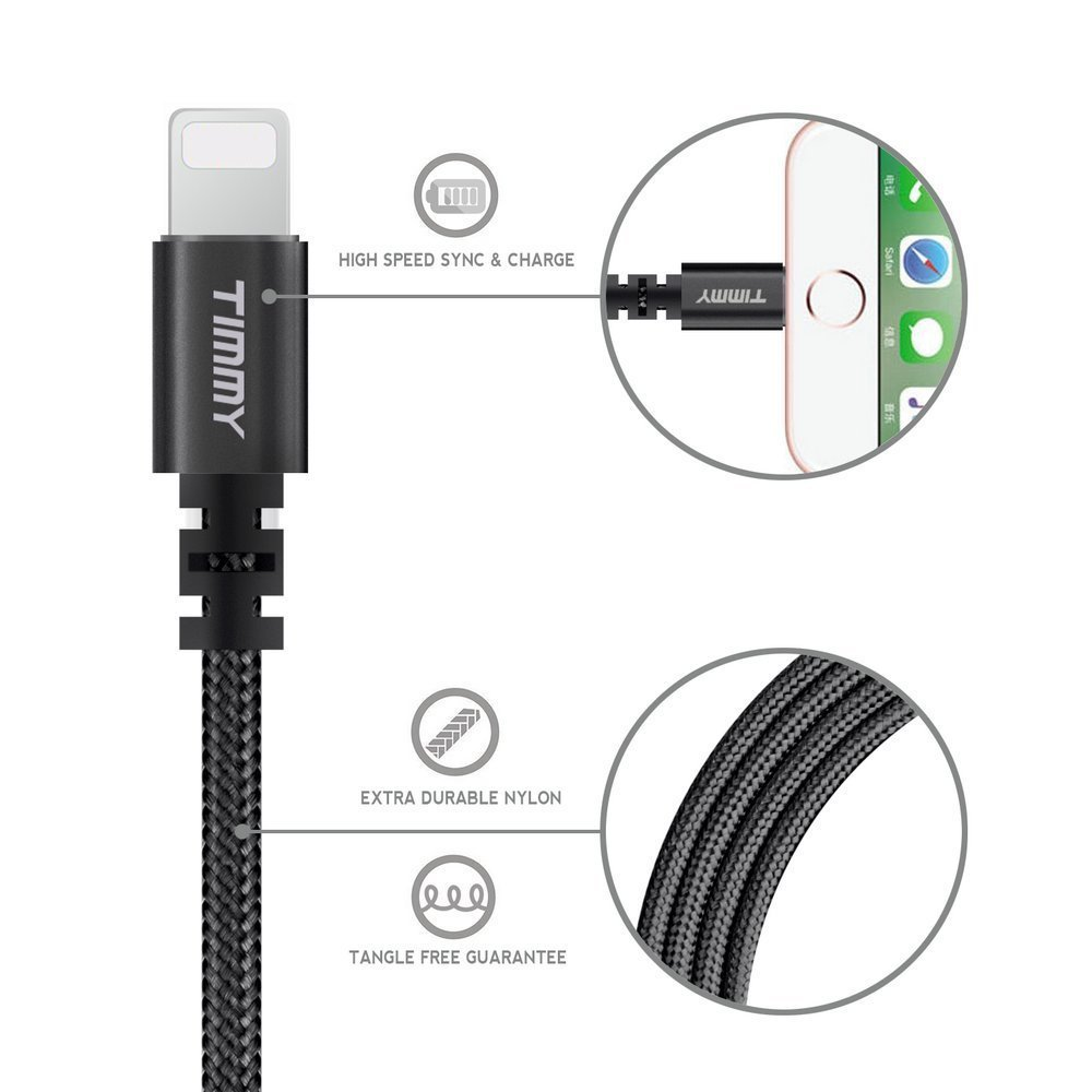 Lightning cable TIMMY 3Pack 6FT Nylon Braided  IPhone Charger certified to charging Cable with charging indictor powerline for iPhone 5/5C/5S/6S/6S PLUS/7/7 plus, iPad Air, and more (Black)