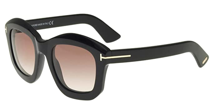 6a31608bf2d6 Amazon.com  Tom Ford FT0582 01F Shiny Black Julia Square Sunglasses ...