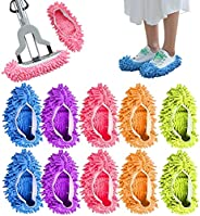 SunRiao Lavable Mopa Antipolvo Zapatillas Cubiertas de Microfibra Fregona para Zapatosde Limpieza de Pisos par