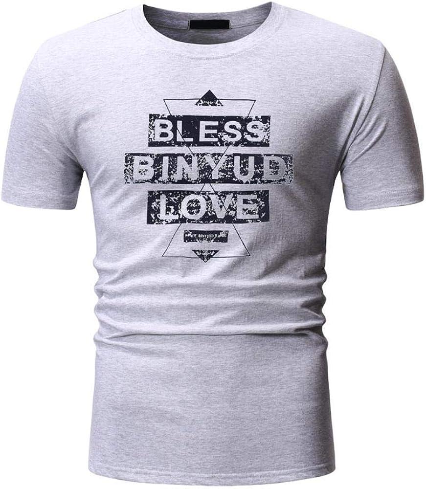 Manga de la Camiseta Corta de la Camiseta de los Hombres con Las Letras Impresas de Manga Corta de algodón Tendencia en la Camiseta Ocasional Planta Verano