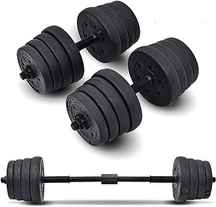 Hantel Set mit Gewichte und Hantelstange schwarz Verstellbare Kurzhantel Sets