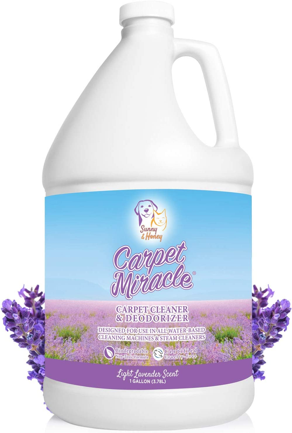 Carpet Miracle - The Best Carpet Cleaner Shampoo Solution for Machine Use, Deep Stain Remover and Odor Deodorizing Formula, Use On Rug Car Upholstery and Carpets (LAV, 1 Gallon)