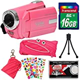 Vivitar DVR 508 NHD Digital Video Camera Camcorder (Bubble Gum Pink) 16GB Card + Monster Case + Pouch + Puffy Stickers + Tripod + Kit