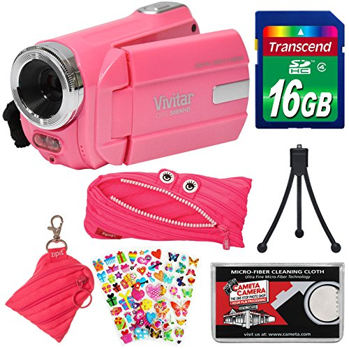 Vivitar DVR 508 NHD Digital Video Camera Camcorder (Bubble Gum Pink) with 16GB Card + Monster Case + Pouch + Puffy Stickers + Tripod + Kit by Vivitar