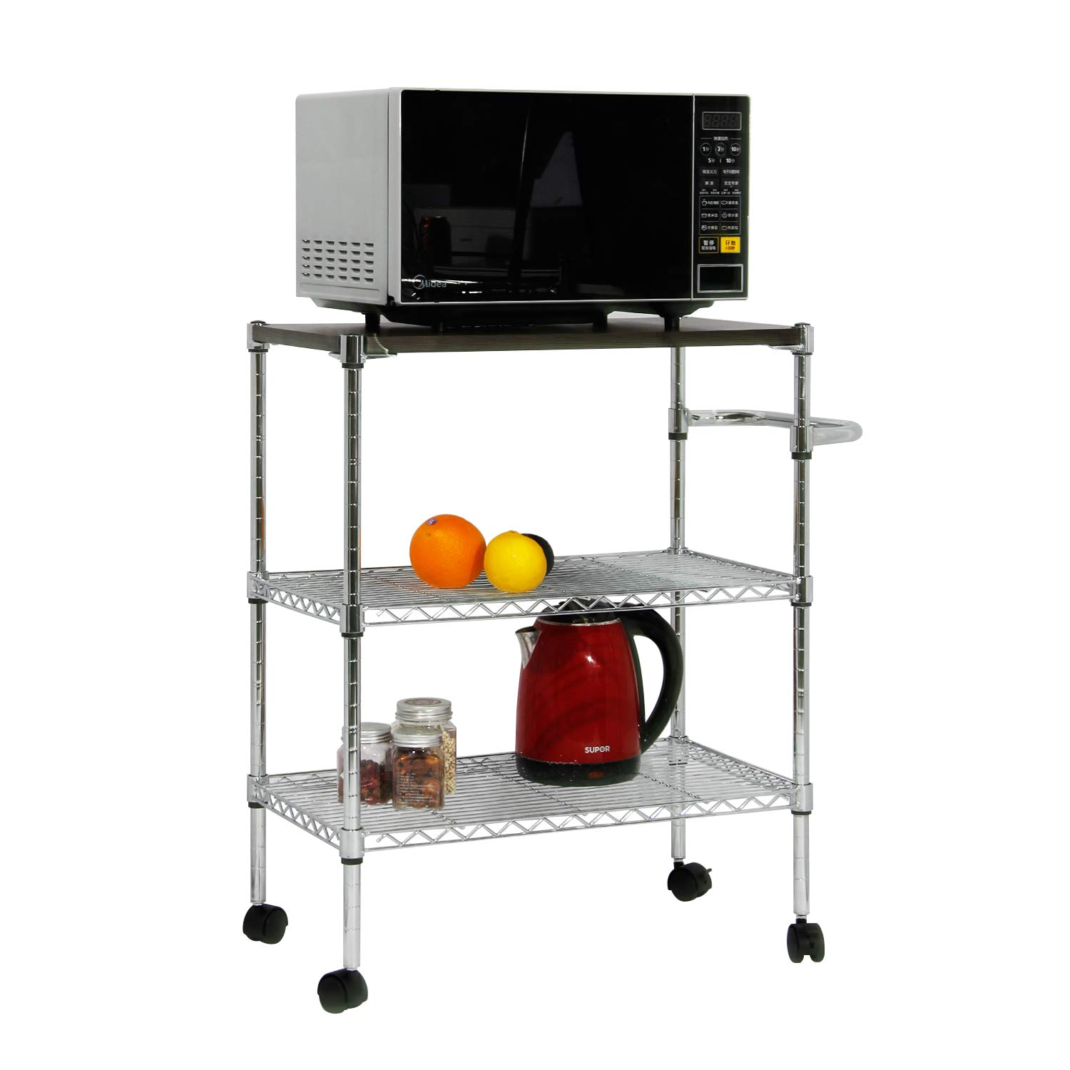 DlandHome 3-Tier Storage Shelf Unit On Wheels, Heavy Duty Low-Carbon Mesh Steel, Serving Cart Utility Cart with Handle for Kitchen/Restaurant/ Hotel, ZSCS-03 1 Pack DZSCS-03