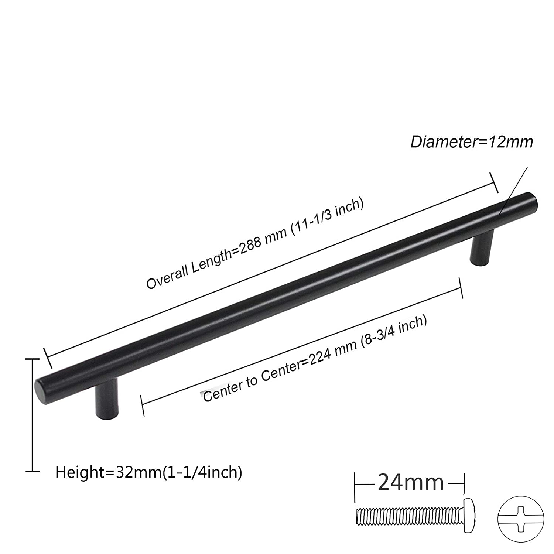 50 mm, 64 mm, 76 mm, 96 mm, 128 mm, 160 mm, 192 mm, 224 mm, 256 mm Probrico 10paquete acero inoxidable pomos para armario de cocina de puerta asas T Bar Negro 9 tama/ño