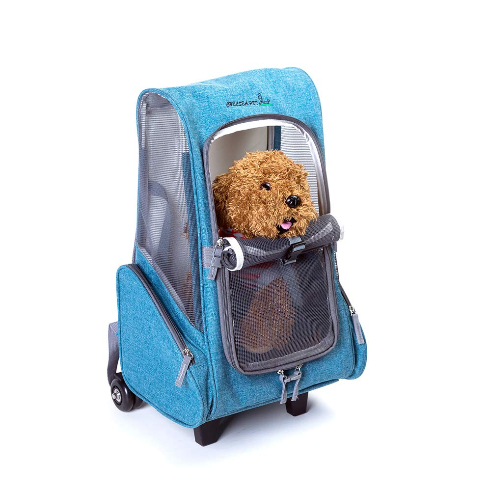bluee Pet Carrier Backpack,Pet rod backpack Universal wheel 900d Oxford Cloth with Mesh Portable Pet Carrier Airline Approve for Large and Medium Dogs Can Carry 5kg,bluee