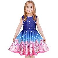 LaBeca Casual Dresses Girls, Candy Butterfly Mermaid Unicorn Dress Kids Girl Long Sleeve Sleeveless
