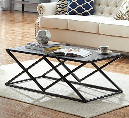 O&K Furniture Modern Industrial Cocktail Coffee Table with Black Metal Frame for Living Room & Office, Gray Finish,1-Pcs -