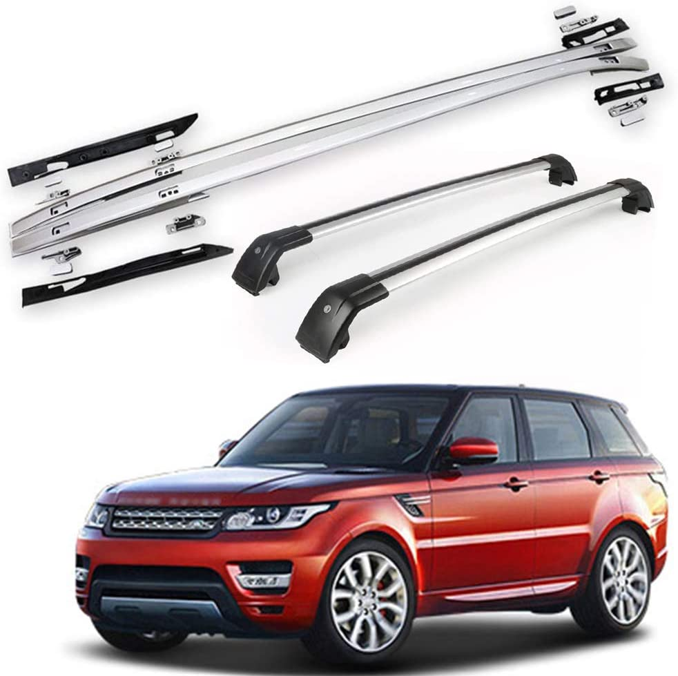 KPGDG 4 Pcs Fits for Land Rover Range Rover Sport 2014-2019 Aluminium Roof Rail Roof Rack Side Rail Bar - Silver