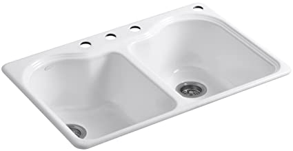 Attractive KOHLER K 5818 4 0 Hartland Self Rimming Kitchen Sink With Four