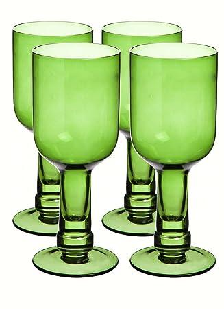 Botella de cristal reciclado verde Copas de vino juego de 4
