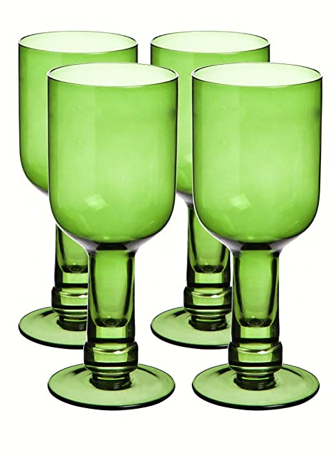 Green Recycled Glass Bottle Wine Glasses Set Of 4 Amazon Co Uk
