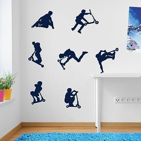 Kids stunt scooters jumps tricks wall decorations window stickers wall decor wall stickers