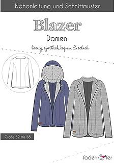 1a9fb6443d Brittschens Stoffe und Zutaten Papierschnittmuster Blazer Erwachsene -  Schnittmuster für Damen - Jacke nähen - Größe