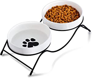 LENYOSSI Cat Bowl, Cat Food Bowls, Elevated Cat Bowl with Stand, Ceramic Cat Water Bowls for Food and Water, 12 Ounces Cat Food Bowls for Indoor Cats or Dogs, Dishwasher Safe, White