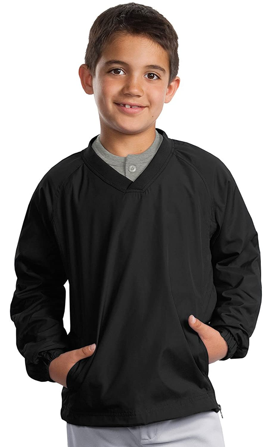Sport-Tek Youth V-Neck Raglan Windshirt (YST72) Wind Shirt Available in 8 Colors X-Small Black