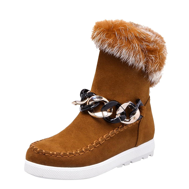 Carolbar Women's Zip Faux Fur Chains Fashion Warm Low Heel Winter Boots