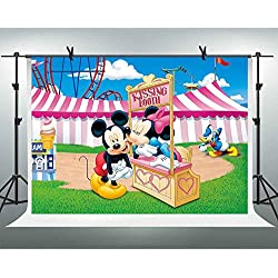 FHZON 10x7ft Mickey Minnie Mouse Backgrounds for Photography Kissing Booth Ice Cream Circus Tent Backdrop Children Girl Newborn Birthday Party Video Prop Room Mural GEFH034