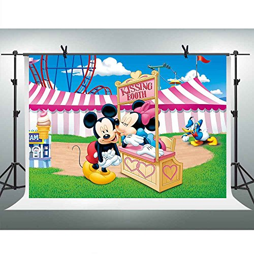 - FHZON 10x7ft Cartoon for Mickey Minnie Mouse Backgrounds for Photography Kissing Booth Ice Cream Circus Tent Backdrop Children Girl Newborn Birthday Party Video Prop Room Mural GEFH034