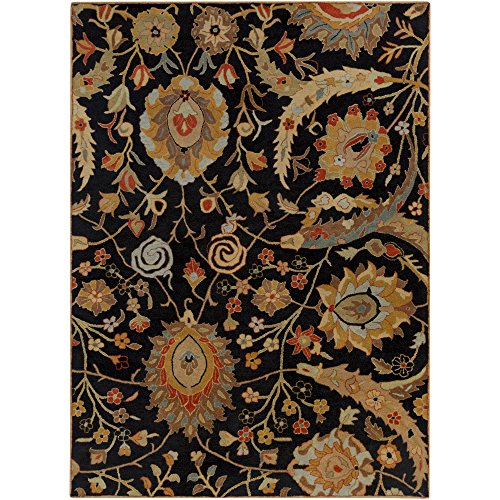 (Surya Ancient Treasures A-154 Classic Hand Tufted 100% Semi-Worsted New Zealand Wool Coal Black 8' x 11' Traditional Area Rug)