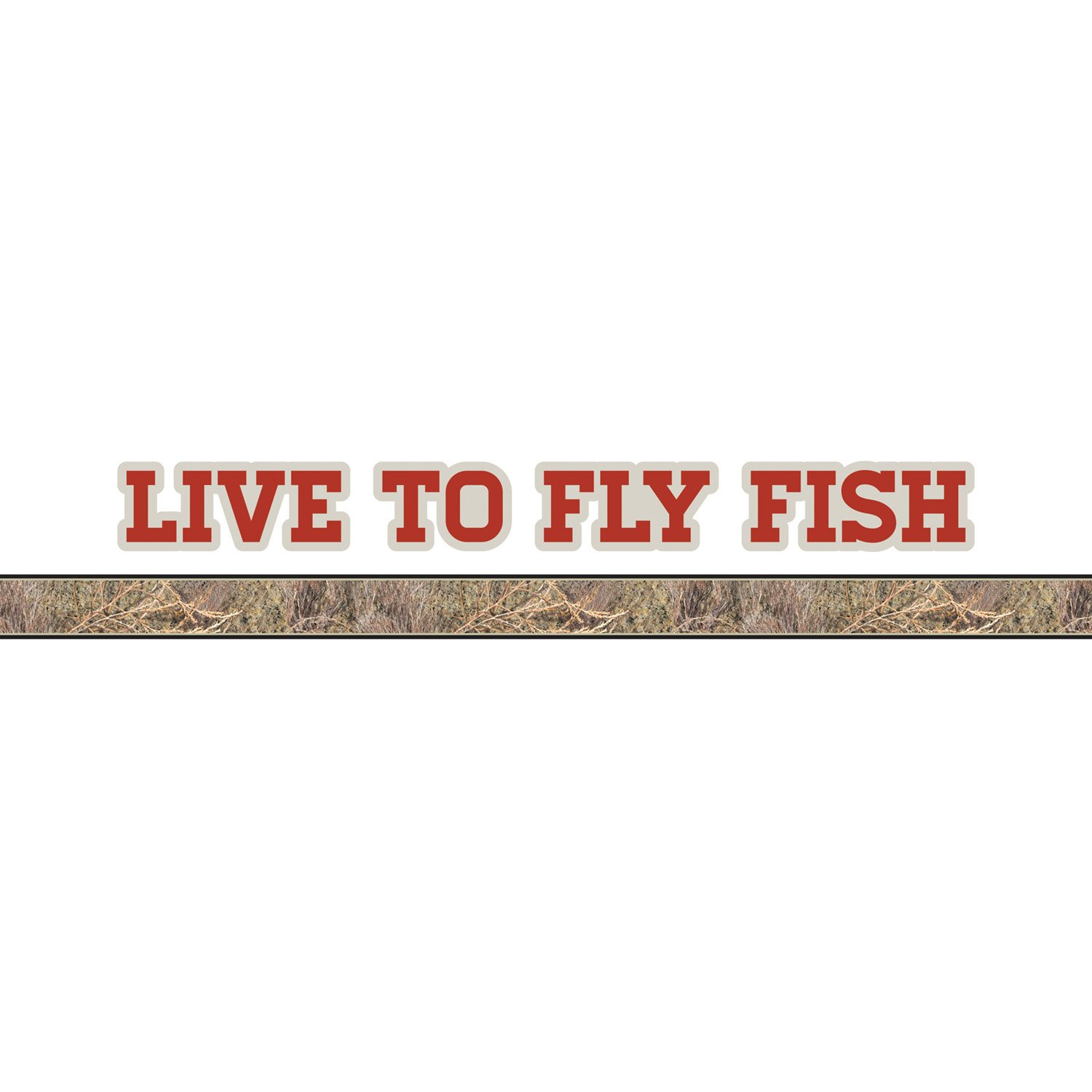 Mossy Oak Graphics 10012-FL-BR Brush Live to Fly Fish Logo with Camouflage Pin Stripe