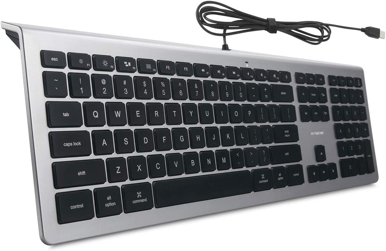 BFRIENDit Wired USB Mac Keyboard, Quiet LED Backlit Chocolate Keys, Durable Ultra-Slim Wired Computer Keyboard for PC, Windows 10/8 / 7 / Vista, Mac OS - Silver/Black